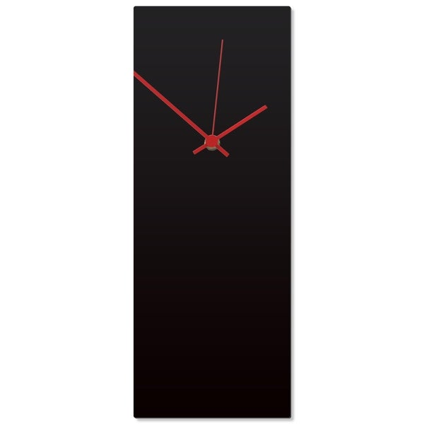 Adam Schwoeppe 'Blackout Red Clock' 6in x 16in Contemporary Clock on Aluminum Polymetal