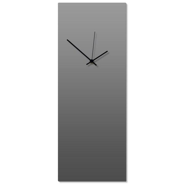 Adam Schwoeppe 'Grayout Black Clock Large' 8.25in x 22in Contemporary Clock on Aluminum Polymetal