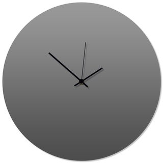 Adam Schwoeppe 'Grayout Black Circle Clock' 16in x 16in Contemporary Clock on Aluminum Polymetal