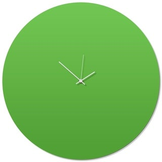 Adam Schwoeppe 'Greenout White Circle Clock Large' 23in x 23in Contemporary Clock on Aluminum Polymetal