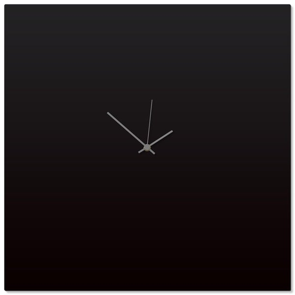 Adam Schwoeppe 'Blackout Grey Square Clock Large' 23in x 23in Contemporary Clock on Aluminum Polymetal
