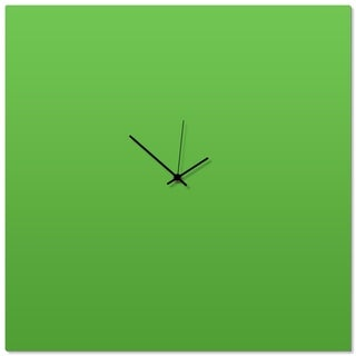 Adam Schwoeppe 'Greenout Black Square Clock Large' 23in x 23in Contemporary Clock on Aluminum Polymetal