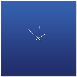 Adam Schwoeppe 'Blueout White Square Clock Large' 23in x 23in Contemporary Clock on Aluminum Polymetal