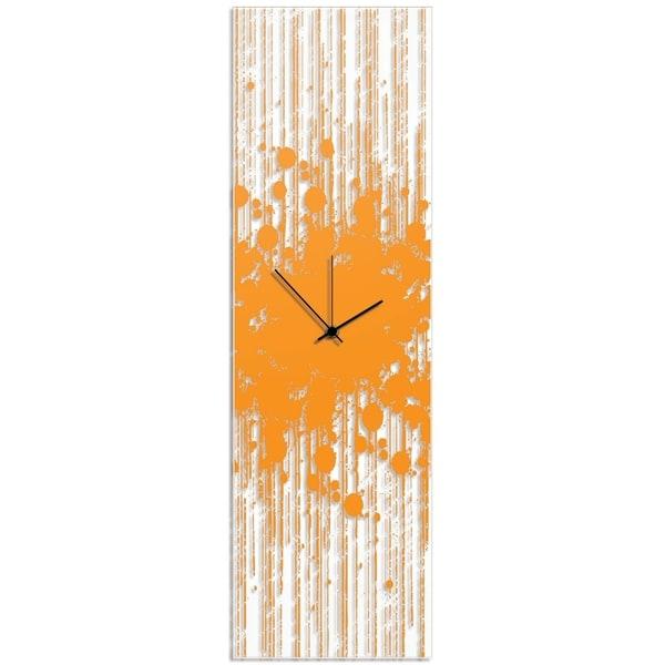 Adam Schwoeppe 'Orange Paint Splatter Clock' 9in x 30in Contemporary Decor on Plexiglass