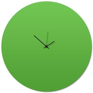 Adam Schwoeppe 'Greenout Black Circle Clock Large' 23in x 23in Contemporary Clock on Aluminum Polymetal