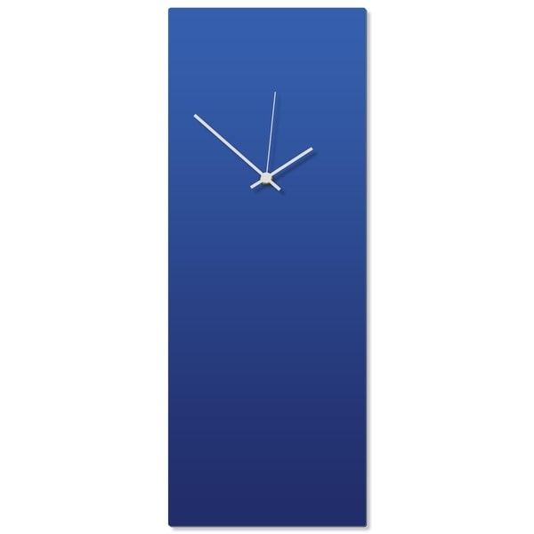 Adam Schwoeppe 'Blueout White Clock Large' 8.25in x 22in Contemporary Clock on Aluminum Polymetal