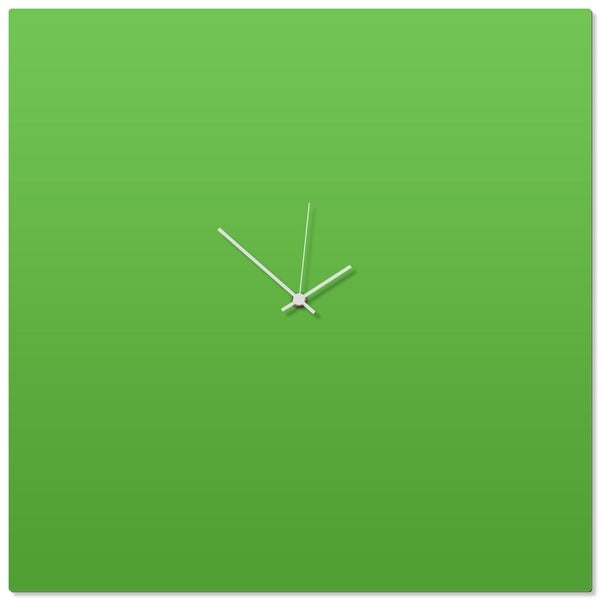 Adam Schwoeppe 'Greenout White Square Clock Large' 23in x 23in Contemporary Clock on Aluminum Polymetal