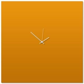 Adam Schwoeppe 'Orangeout White Square Clock Large' 23in x 23in Contemporary Clock on Aluminum Polymetal