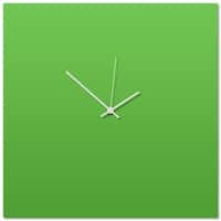 Adam Schwoeppe 'Greenout White Square Clock' 16in x 16in Contemporary Clock on Aluminum Polymetal