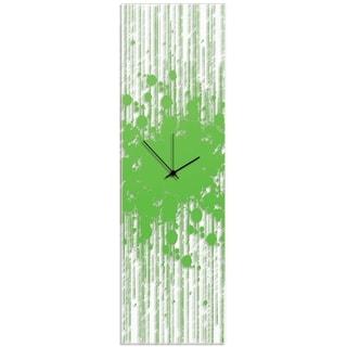 Adam Schwoeppe 'Green Paint Splatter Clock' 9in x 30in Contemporary Decor on Plexiglass