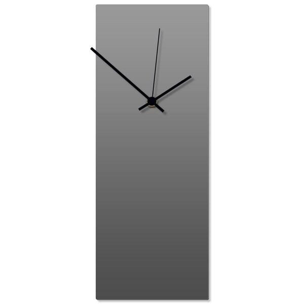 Adam Schwoeppe 'Grayout Black Clock' 6in x 16in Contemporary Clock on Aluminum Polymetal