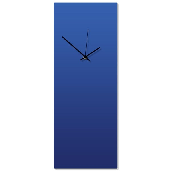 Adam Schwoeppe 'Blueout Black Clock Large' 8.25in x 22in Contemporary Clock on Aluminum Polymetal