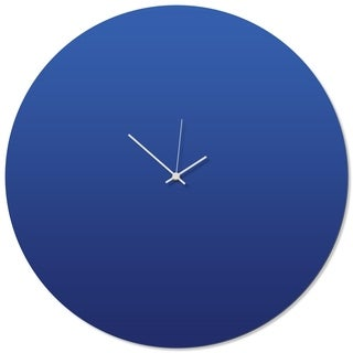 Adam Schwoeppe 'Blueout White Circle Clock Large' 23in x 23in Contemporary Clock on Aluminum Polymetal