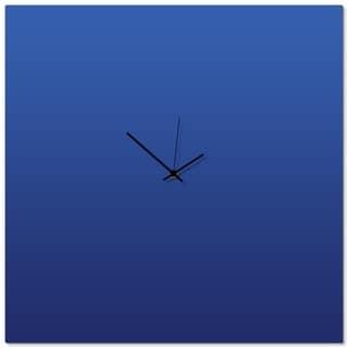 Adam Schwoeppe 'Blueout Black Square Clock Large' 23in x 23in Contemporary Clock on Aluminum Polymetal