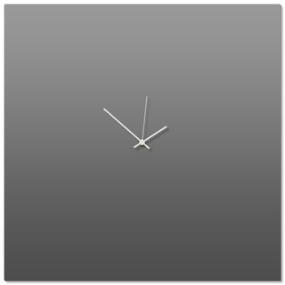 Adam Schwoeppe 'Grayout White Square Clock Large' 23in x 23in Contemporary Clock on Aluminum Polymetal