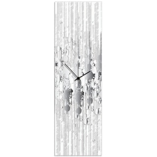 Adam Schwoeppe 'Black and White Paint Splatter Clock' 9in x 30in Contemporary Decor on Plexiglass