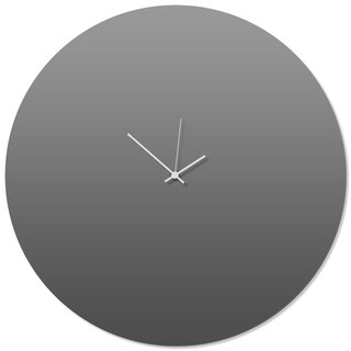 Adam Schwoeppe 'Grayout White Circle Clock Large' 23in x 23in Contemporary Clock on Aluminum Polymetal