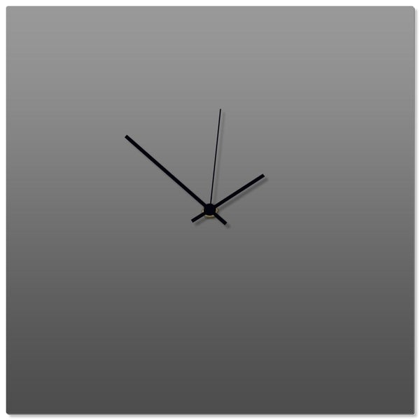Adam Schwoeppe 'Grayout Black Square Clock' 16in x 16in Contemporary Clock on Aluminum Polymetal