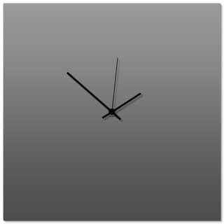 Adam Schwoeppe 'Grayout Black Square Clock' 16in x 16in Contemporary Clock on Aluminum Polymetal