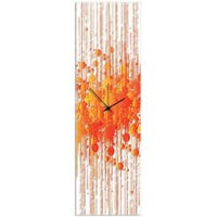 Adam Schwoeppe 'Warm Paint Splatter Clock' 9in x 30in Contemporary Decor on Plexiglass