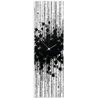 Adam Schwoeppe 'Black Paint Splatter Clock' 9in x 30in Contemporary Decor on Plexiglass