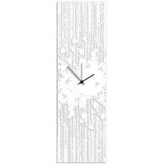 Adam Schwoeppe 'White Paint Splatter Clock' 9in x 30in Contemporary Decor on Plexiglass