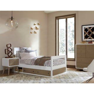 Hillsdale East End Taupe and White Wood Twin Storage Jet Bed