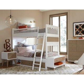 Hillsdale East End Acacia Taupe/White Twin Over Twin Jet Bunk with Storage