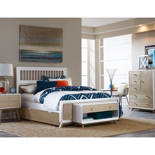 Hillsdale East End Spindle Full Bed with Trundle, Taupe/White