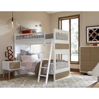 Hillsdale East End Taupe/White Acacia Wood Twin-over-twin Bunk