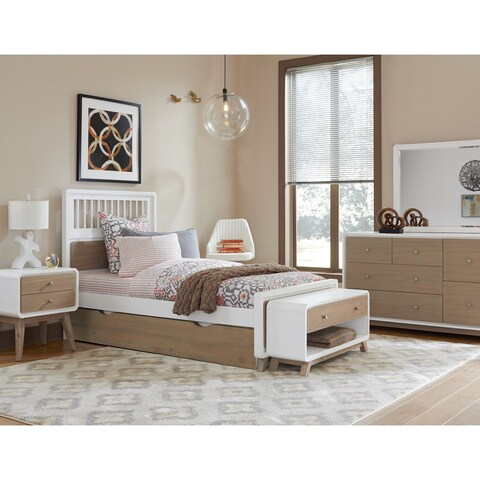 Hillsdale East End Spindle Twin Bed with Trundle, Taupe/White