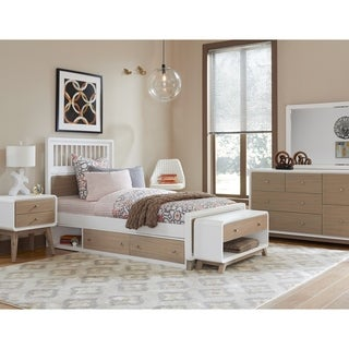 Hillsdale East End Taupe/White Acacia Wood Twin Spindle Storage Bed