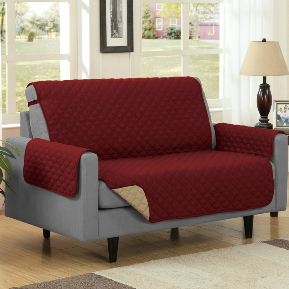 Reversible Quilted Microfiber Loveseat Furniture Protecto...