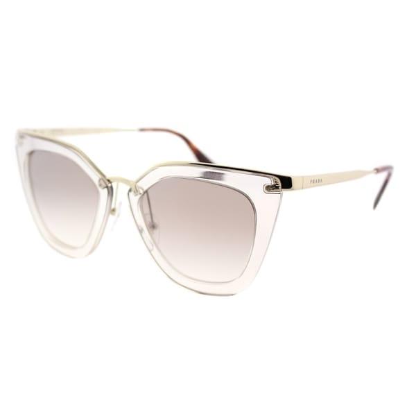 acd7b0501b4a Prada Cat Eye PR 53SS VYT4O0 Womens Transparent Brown Frame Silver Gradient  Mirrored Lens Sunglasses