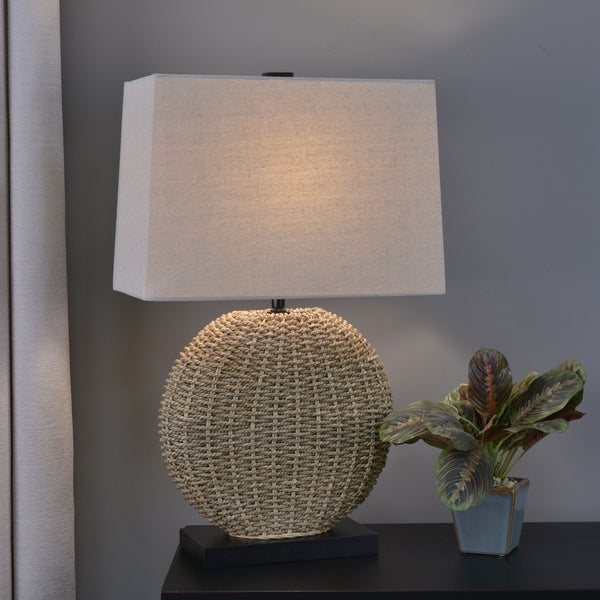 Shop Dune Woven Rattan Table Lamp Free Shipping Today