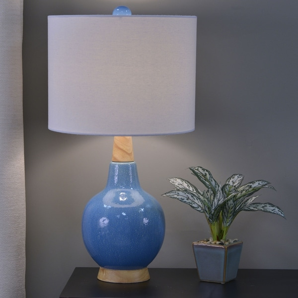 Sawyer Speckled Ceramic and Wood Table Lamp