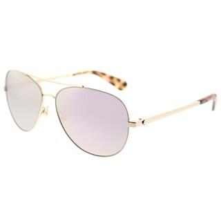 Kate Spade Aviator KS Avaline2 HT8 Womens Pink Havana Frame Rose Gold Mirror Lens Sunglasses