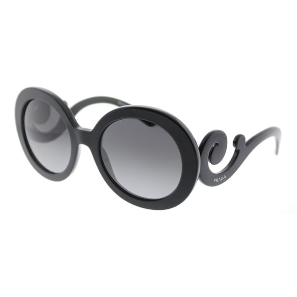 Shop Prada Round PR 27NS 1AB5W1 Womens Black Frame Grey Gradient ...