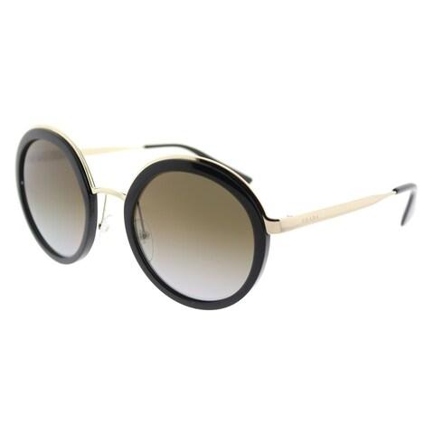 Prada Round PR 50TS 1AB6E1 Womens Black Frame Brown Gradient Polarized Lens Sunglasses