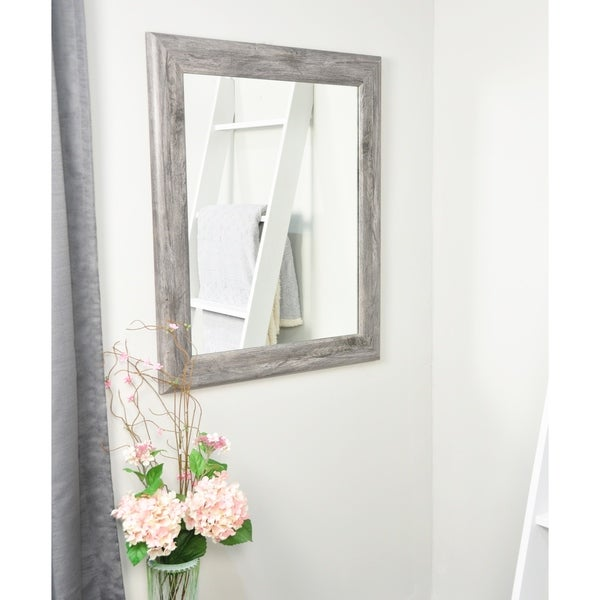 Smooth Gray Barnwood Wall Mirror - grey barn wood