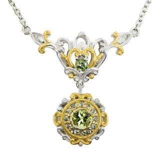 Michael Valitutti Palladium Silver Tashmarine & Green Sapphire Necklace|https://ak1.ostkcdn.com/images/products/18217846/P24359679.jpg?impolicy=medium