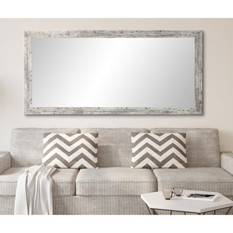 Distressed White Floor Mirror - 32.5 x 66
