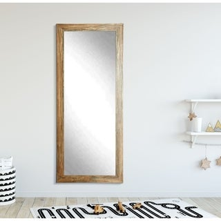 Traditional Blonde Barnwood Floor Mirror - 32.5 x 66