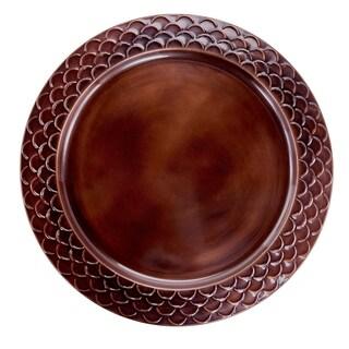 "13"" Antique Copper Scale Rim Charger Plates, Set of 6"