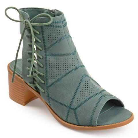Journee Collection Women's 'Elexy' Perforated Cut-out Heel Side Lace-up Booties
