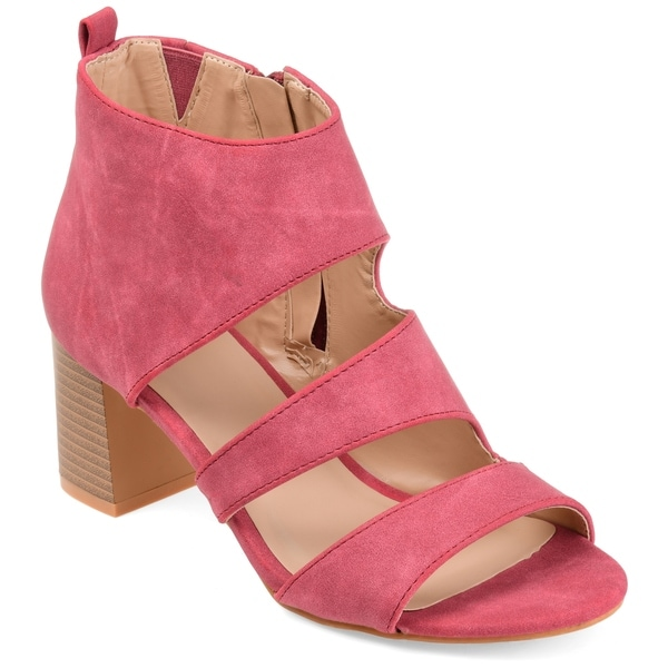 Shop Journee Collection Women's 'Juniper' Open-toe Side-zip Stacked Heel Sandals - - On Sale - - Sandals 18217958 6e7530