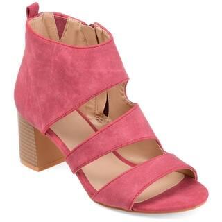 Journee Collection Women's 'Juniper' Open-toe Side-zip Stacked Heel Sandals