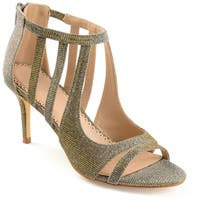 Journee Collection Women's 'Sienna' Cut-out Open-toe Glitter Caged Heels