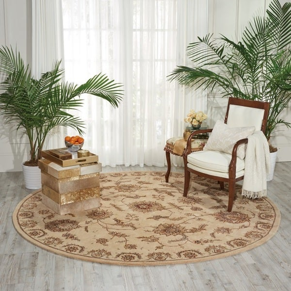Nourison 2000 Beige/Multicolored New Zealand Wool/Silk Round Indoor Area Rug - 4' x 4'