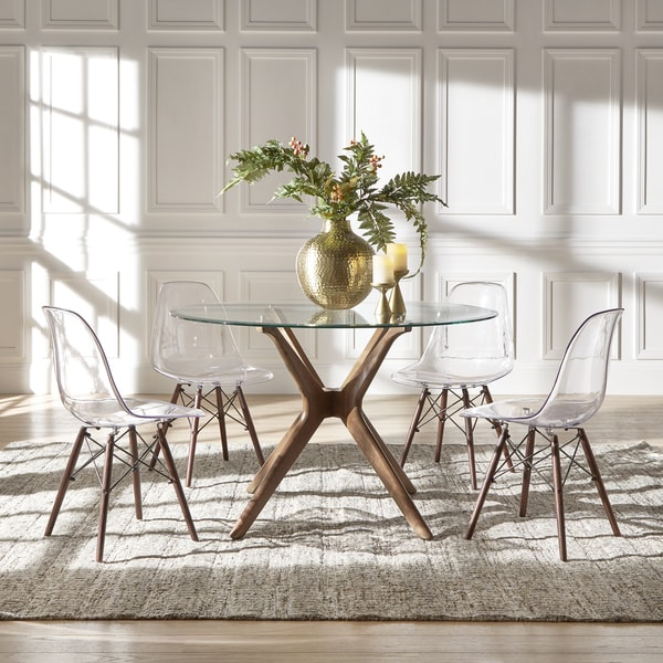 Nadine Walnut Finish Glass Table Top Round Dining Set - Clear Chairs ...
